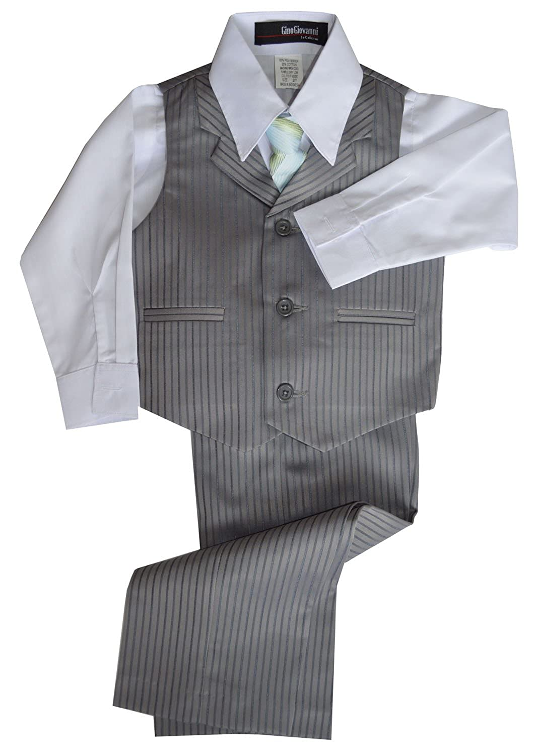 Vintage Style Children's Clothing: Girls, Boys, Baby, Toddler Gino Giovanni Pinstripe Boys Formal Dresswear Vest Set $26.18 AT vintagedancer.com