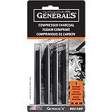General Pencil 957ABP Compressed Charcoal Sticks 4/Pkg-Black - Soft Assorted