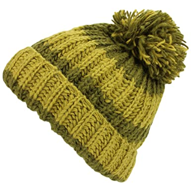 ec9b0584df1 Loud Hats Green Striped Chunky Wool Knit Striped Slouch Beanie Bobble Hat  with Turn Up Brim  Amazon.co.uk  Clothing