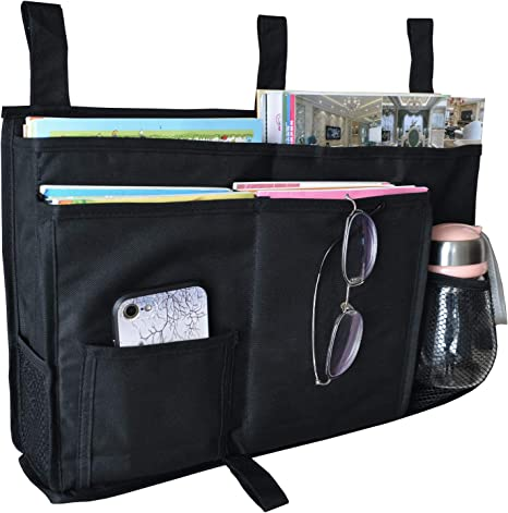 DuomiW Bedside Storage Organizer, Bedside Caddy Hanging Storage Bag, Bunk Dorm Rooms Hospital Bed Rails and Baby Bed with 8 Pockets (Black)