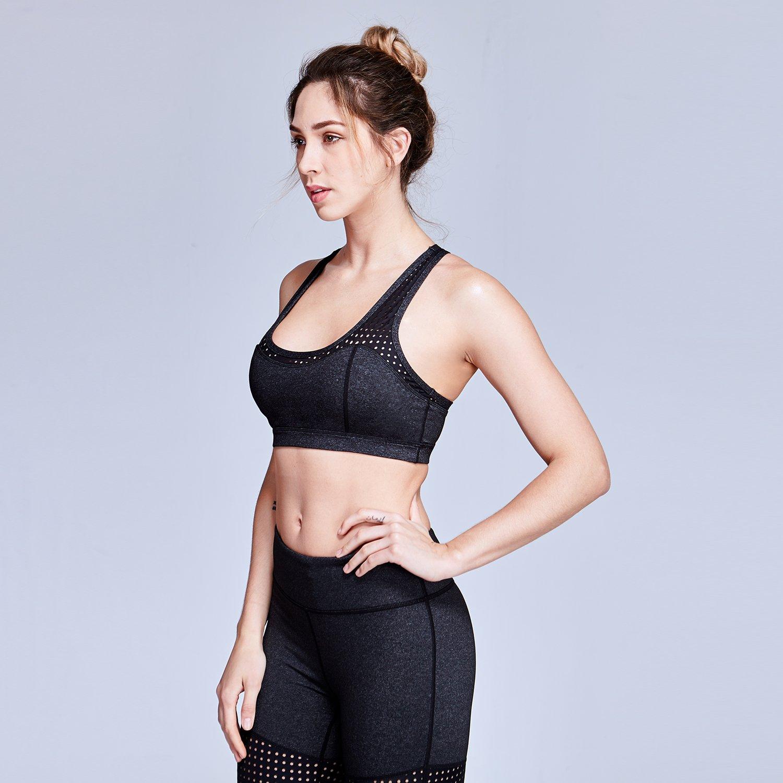 Matymats Women/'s Active Yoga Sports Bra with Removable Pads Medium Impact Workout Racerback Bra Tops