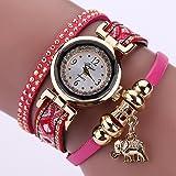 La Cabina Femme Fille Chic Montre Bracelet en Tricotage Bohémien avec Pendentif Eléphant Montre pour Robe (Rouge)