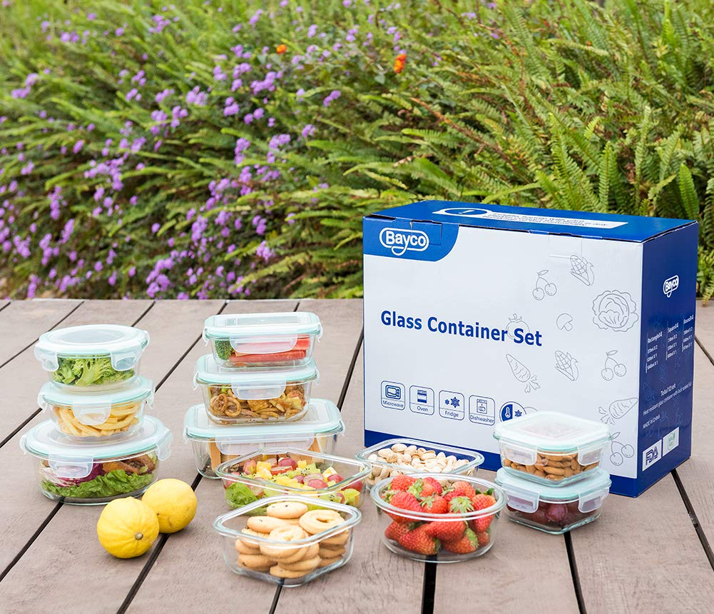 Bayco Glass Food Storage Containers with Lids, [24 Piece] Glass Meal Prep Containers, Airtight Glass Bento Boxes