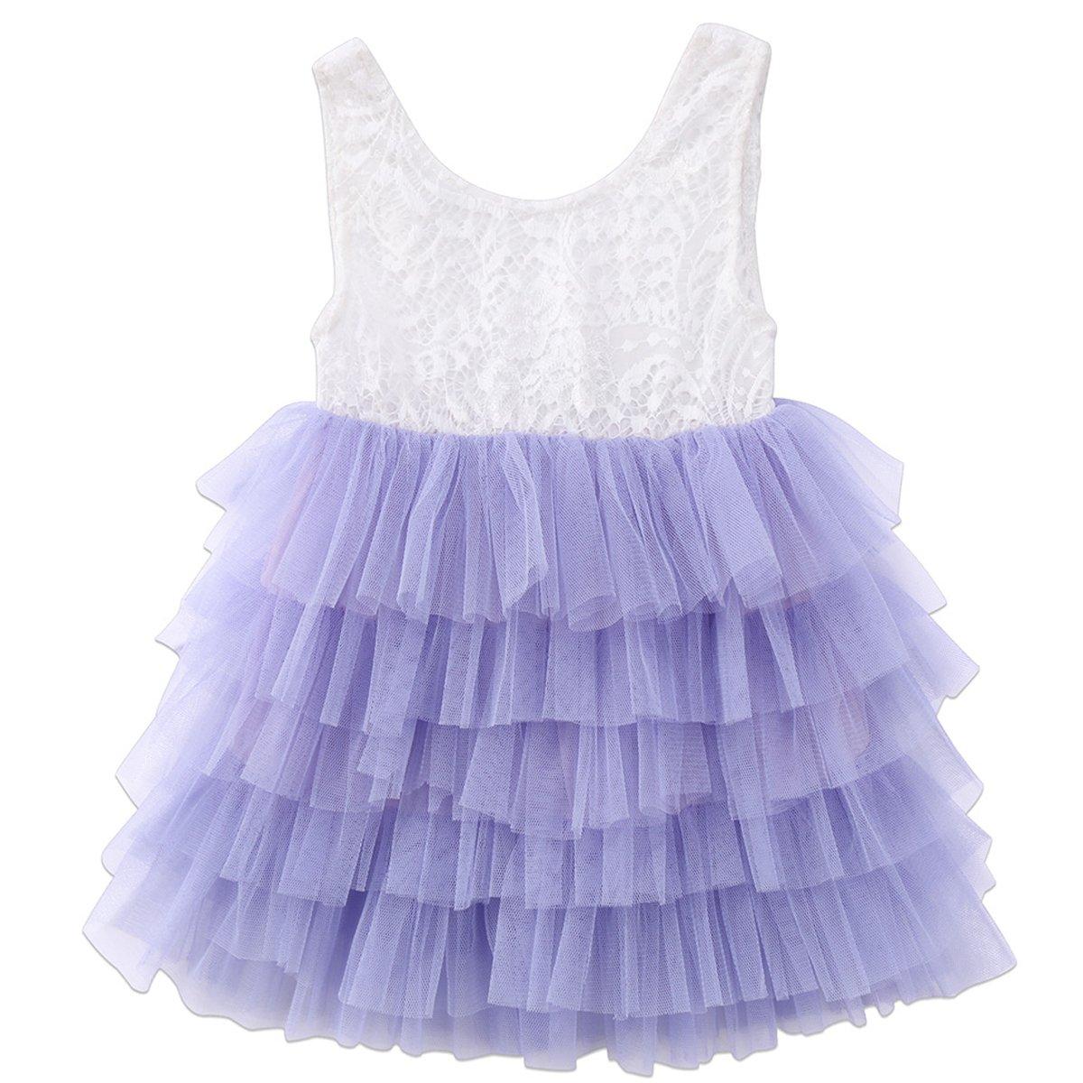 Annvivi Baby Girls Lace Tutu Tulle Princess Wedding Flower Girl Birthday Party Dress