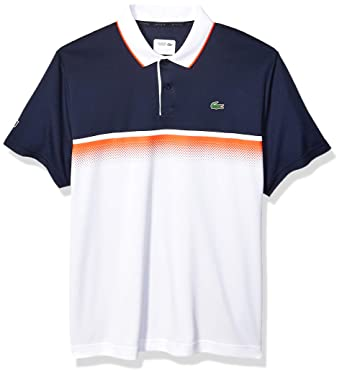 ec638c7b Lacoste Men's Sport Short Sleeve Ultra Dry Gradient Print Polo, Navy  Blue/White/