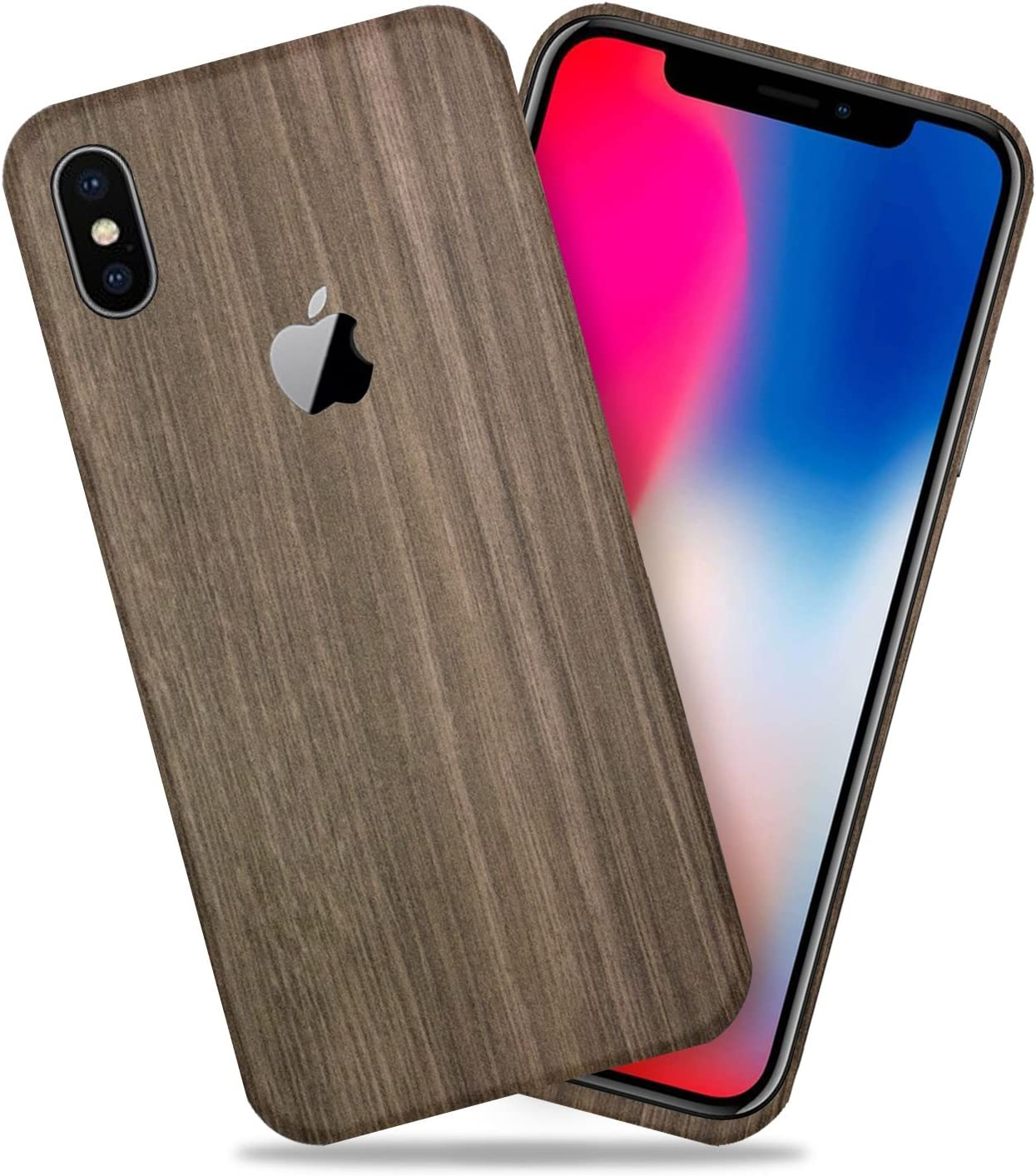 Brown Wood Texture Protective Skin Decal for Apple iPhone X/iPhone 10 Sticker Wrap Cover 2 Pack by GolemGuard