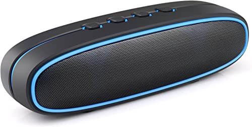 Airke Portable Wireless Bluetooth V3.0 Speaker with 10W Bass Sound, Built-In Mic, TF Card Slot, Handsfree Calling, Perfect Wireless Speaker for iPhone, iPad, Samsung and more, Black Blue