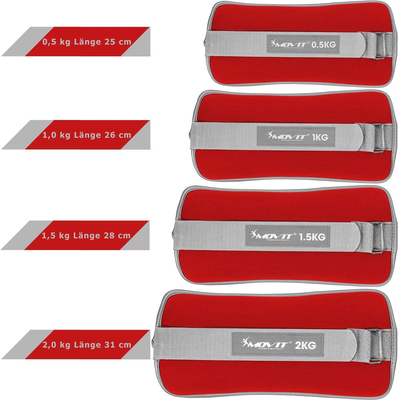 3 Farbvarianten 2X 0,5kg//1,0kg//1,5kg//2,0kg//3,0kg Laufgewichte f/ür Hand- und Fu/ßgelenke optional mit Frottee-Einsatz Movit/® 2er Set Gewichtsmanschetten Neopren mit Reflektormaterial