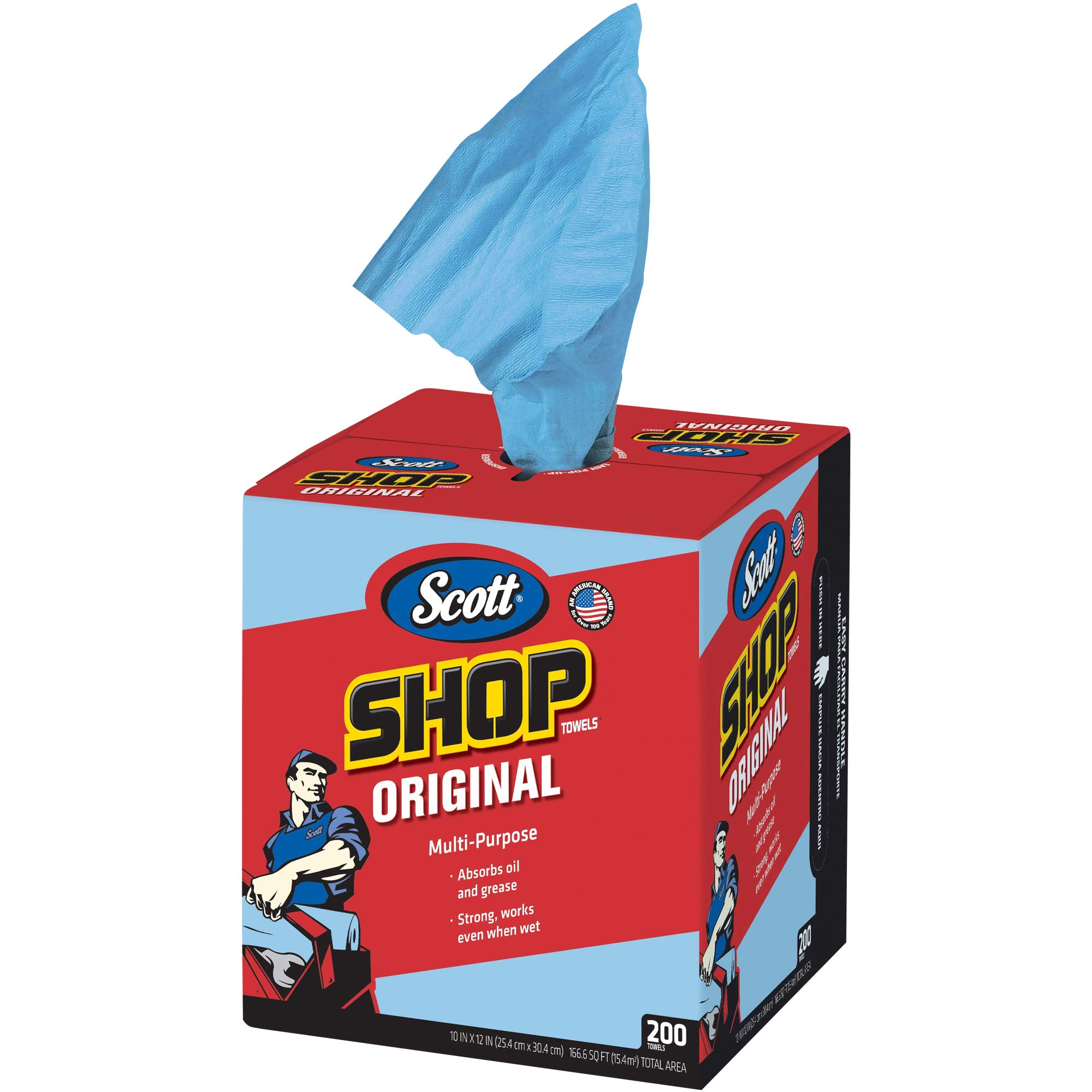 BOX USA BKW144 Scott Shop Towels Pop-Up Box, Pounds Load Capacity,'' Length, 10'' Width, 12'' Thick, Blue (Pack of 1600)