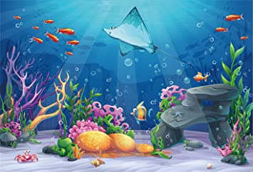 Ocean 6x8 FT Photography Backdrop Cartoon Graphic Like Image of Deep Sealife Creatures Fish Waves Shells Background for Baby Birthday Party Wedding Vinyl Studio Props Photography