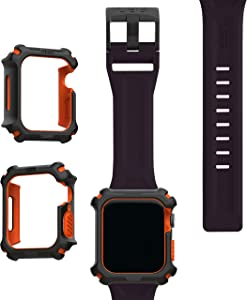 UAG Apple Watch Band 44mm 42mm, iWatch Series 6/5/4/Watch SE Replacement Strap, Scout Eggplant + Apple Watch Case 44mm, iWatch Series 6/5/4/Watch SE Protective Bumper Case, Black/Orange