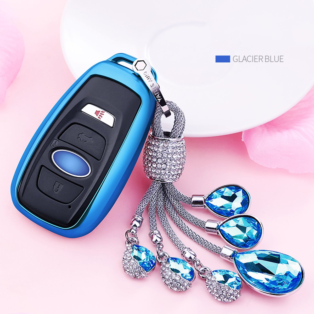 MODIPIM Keyless Entry Remote Cover Soft TPU Key Fob Case with Diamond Tassel Keychain for Subaru XV//Crosstrek Forester Outback Legacy BRZ 3//3+1 Buttons Smart Key Color Silver