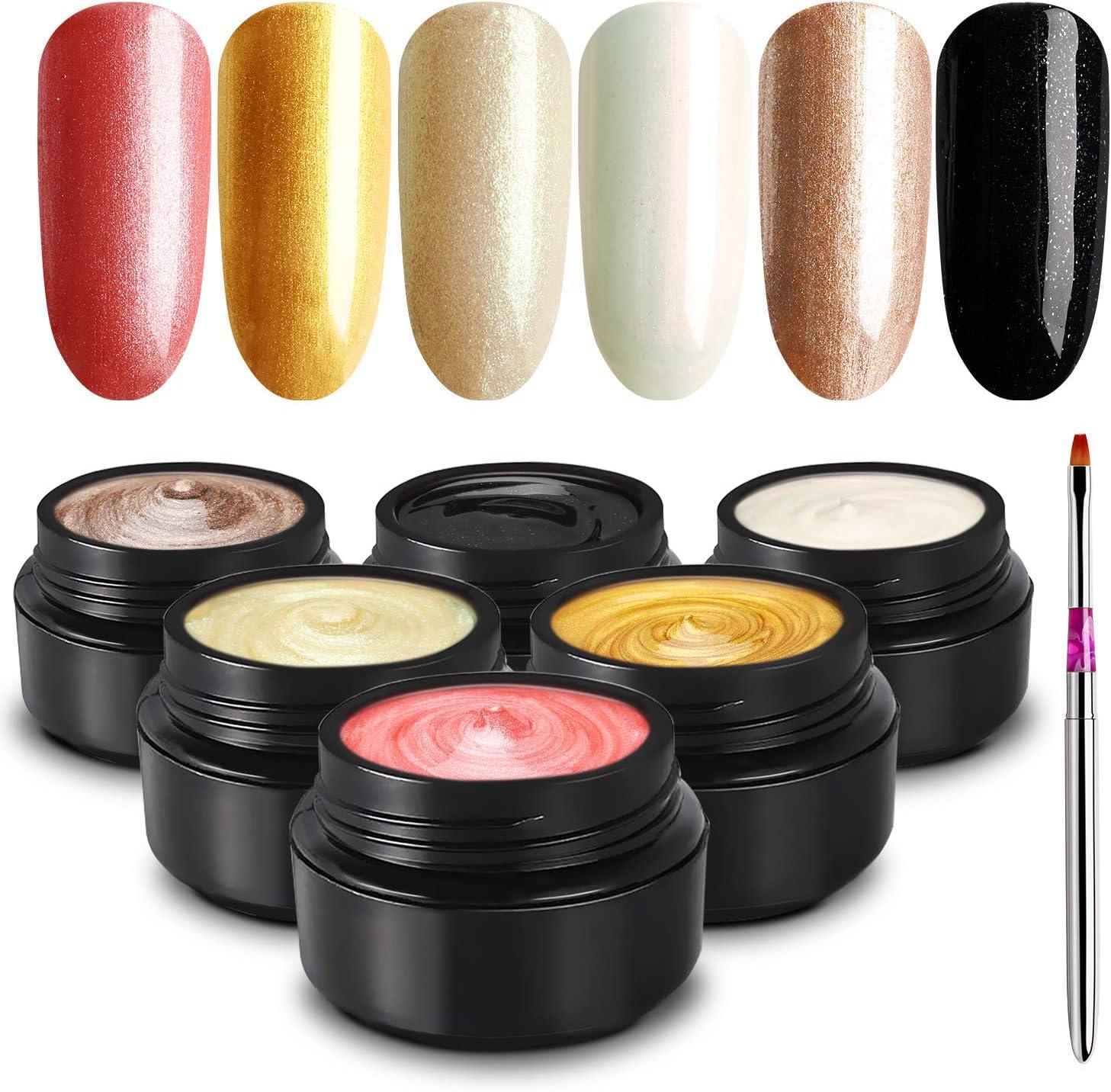 TOMICCA Glitter Gel Nail Polish Set, Golden Pink Black Diamond Gel Jar Kit, Fall Autumn UV LED Glitter Gel Polish, Soak Off Nail Gel Polish Starter Kit, Gel Manicure at Home Kit, Non Toxic - 6 Color
