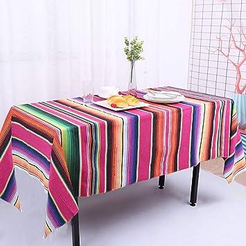 Zda Designs Manta de Serape, diseño mexicano, de 147,16 x 182,88 cm, colorida, para viajes, algodón, diseño de rayas mexicanas 57x72 Red Mexican