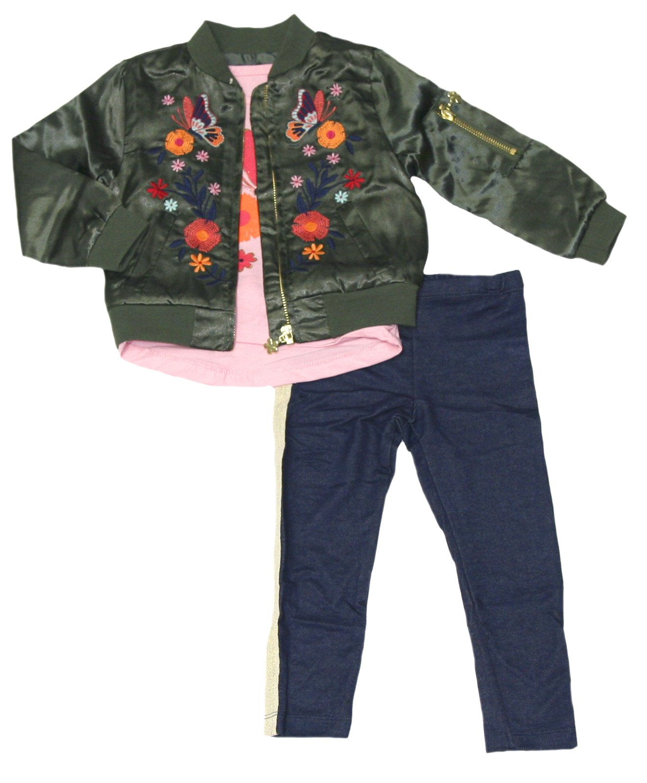 Flapdoodles Little Girls 3 Piece Clothing Set - Embroidered Bomber Jacket, Short Sleeve Shirt & Leggings (Green/Pink, 3T)