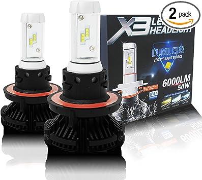 6000LM 6K Cool White 9008 Led Headlight Bulbs Conversion Kit H13