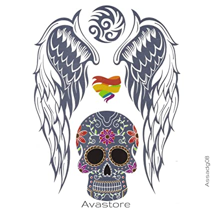 Tatuaje Temporal de alas de ángel joyas plateado tatuaje efímero ...