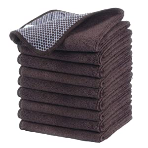 KinHwa Microfiber Dish Cloths Super Absorbent Kitchen Wash Cloth Dish Rags for Washing Dishes Fast Drying Cleaning Cloth with Scrub Side (Brownx9, 12inchx12inch)