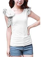 Allegra K Women's Polka Dots Ruffle Sleeves Slim Fit Top w Brooch