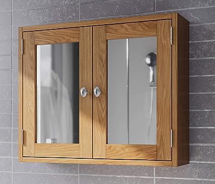 Hallowood Waverly Bathroom Cabinet In Light Oak Finish Solid Wooden Wall Mounted Storage Mirror Cupboard Unit Wav Bcab600 Amazon Co Uk Kitchen Home