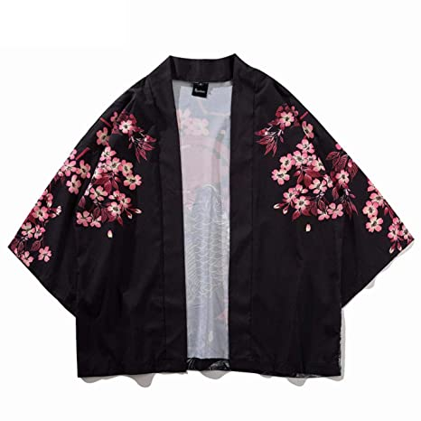 Amazon.com: FORRQY Mens Chinese Style Good Luck Gold Fish Print Kimono Jackets: Clothing