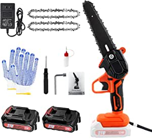 Mini Chainsaw Cordless 6 Inch, Mini Electric Chainsaw with 2 Batteries 2 Chain - One-Hand Handheld Small Chain Saw Pruning Shears for Tree Trimming and Branch Wood Cutting