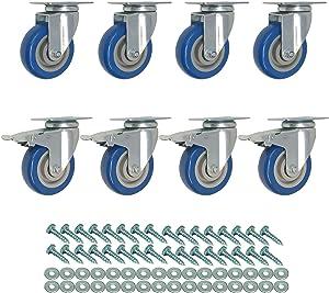8 Pack 3 Inch Combo Caster Swivel Plate 4 w/Brake & 4 Plate Heavy Duty on Blue PU Wheels with Heavy Duty Screws