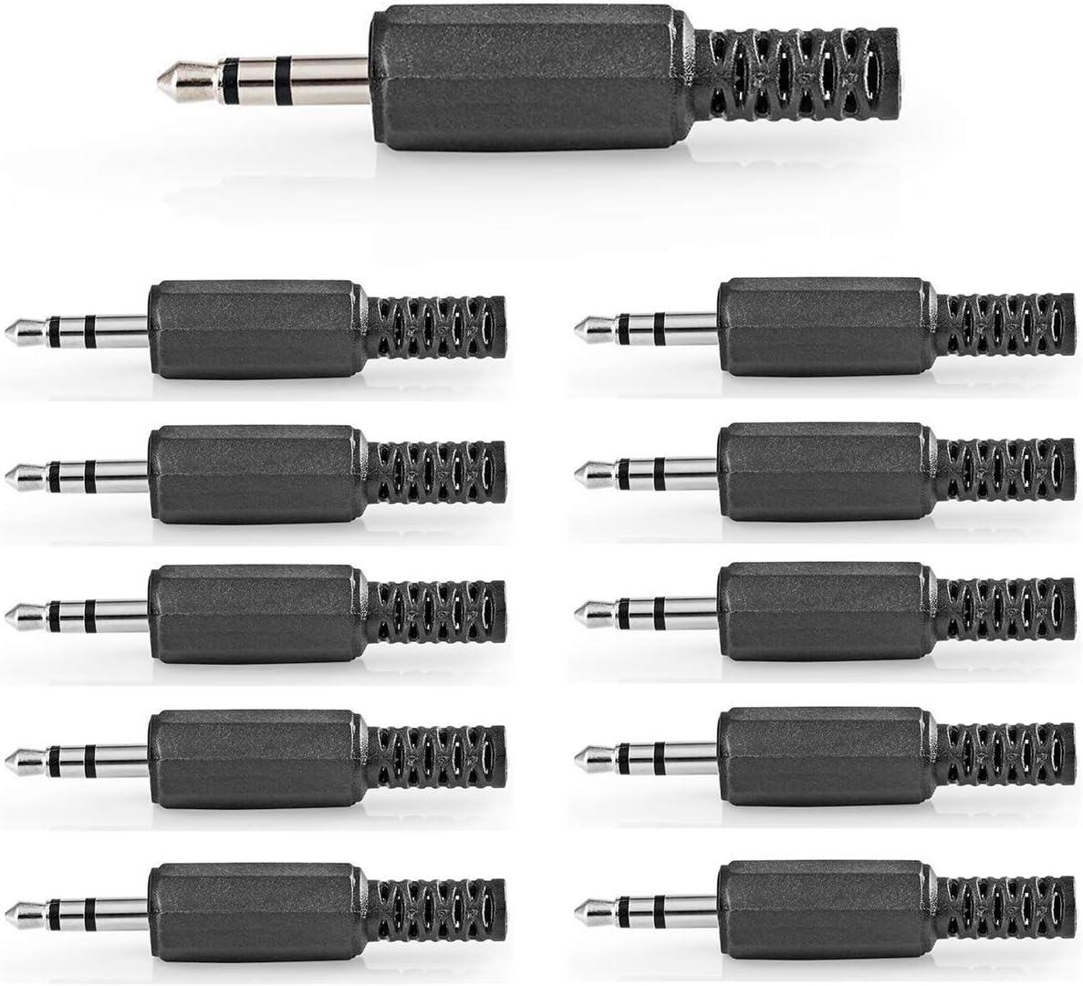 10 x Klinkenkupplung 3,5mm Stereo 3-polig Knickschutz Kunststoff Schwarz 7204