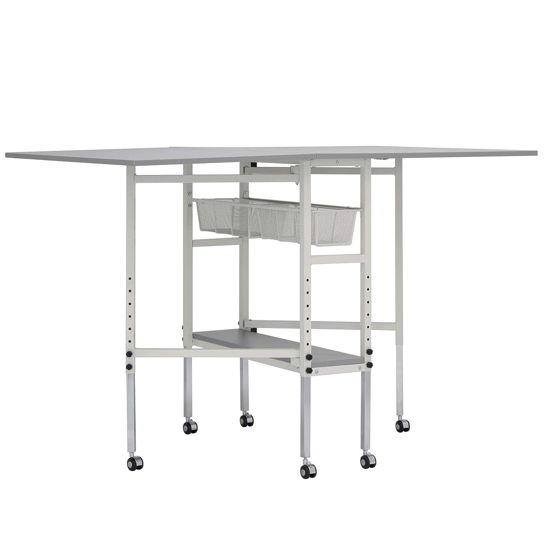 Sew Ready STDN-38011 Spree Craft Cutting Table, 60 W x 36 D x 30.25 – 39.25 H, White Grey