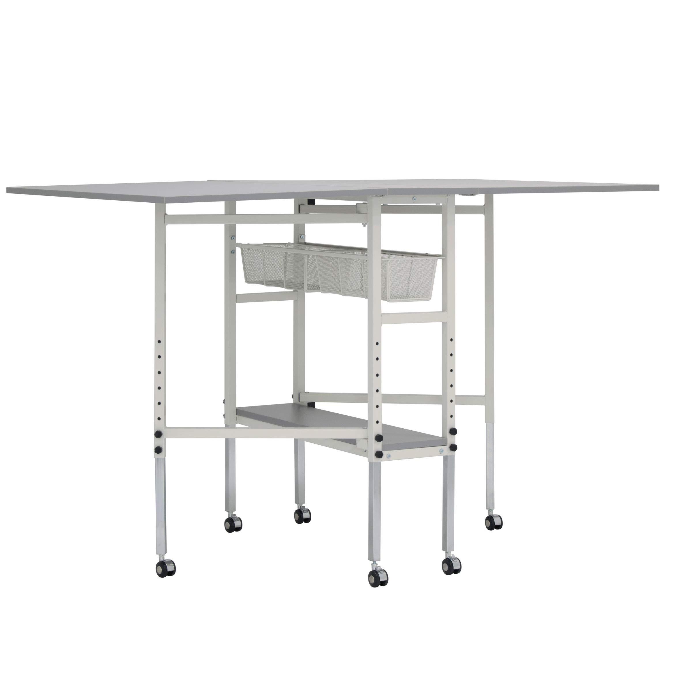 Sew Ready STDN-38011 Spree Craft & Cutting Table, 60'' W x 36'' D x 30.25'' - 39.25'' H, White/Grey by Sew Ready