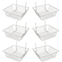 Econoco Multi Fit Epoxy Chrome Small Wire Basket for Slatwall, Grid of Pegboard, Commercial All Purpose Basket, (Pack of 6)