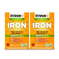 Vitron-C High Potency Iron Supplement with 125 mg Vitamin C, 60 Count, 2 Pack