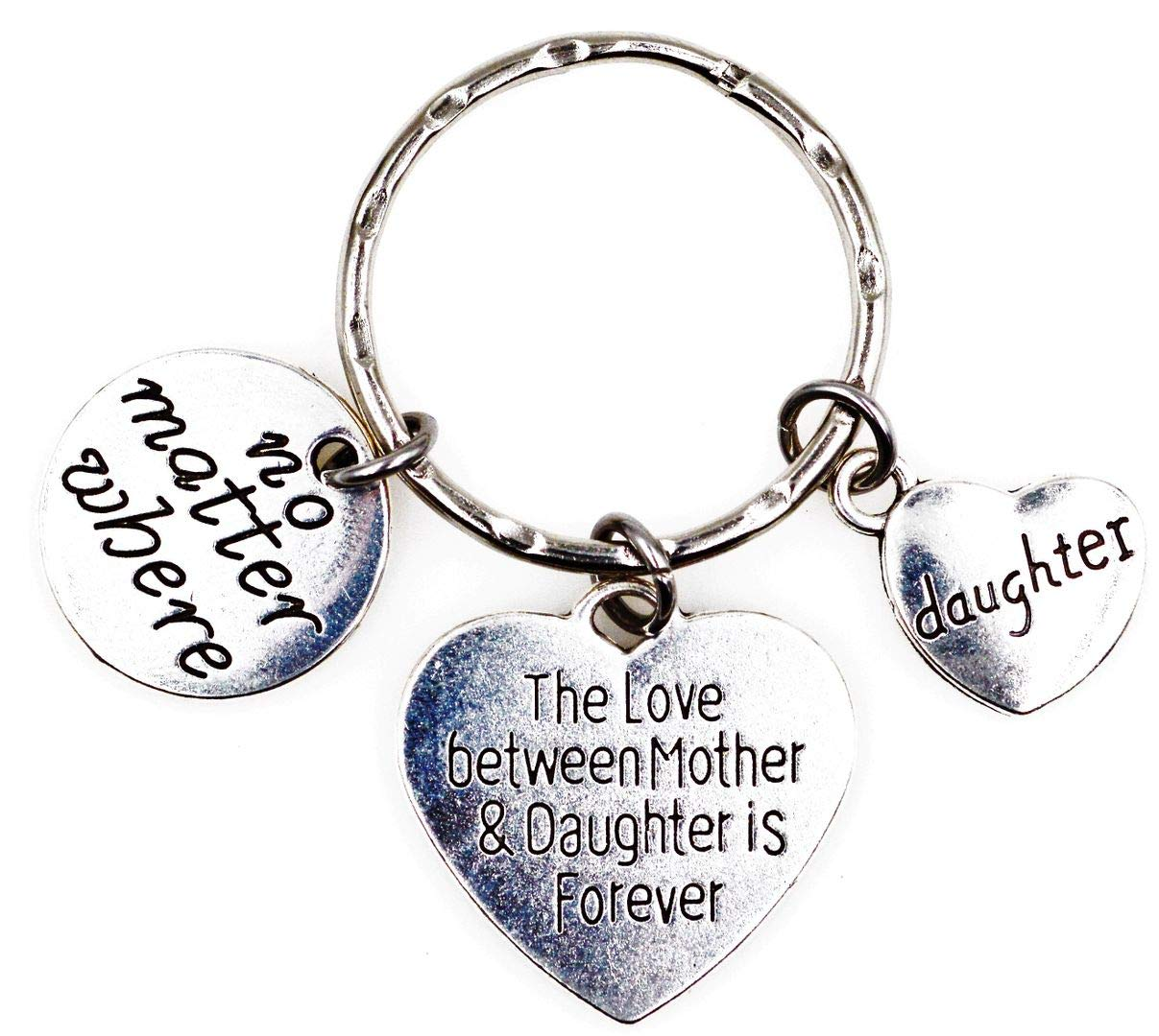 Its All About...You The Love Between Mother and Daughter is Forever No Matter Where Daughter Charm Key Ring Lobster Claw Dog Leash Swivel Hook Clasp Interchangeable Detachable Keychain H6K