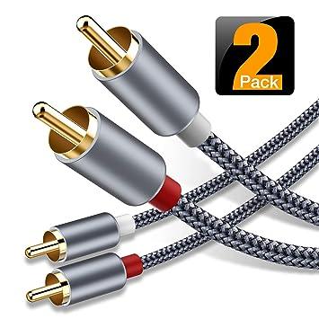 Amazon.com: Cable RCA, Oldboytech 2 macho a 2 machos RCA ...