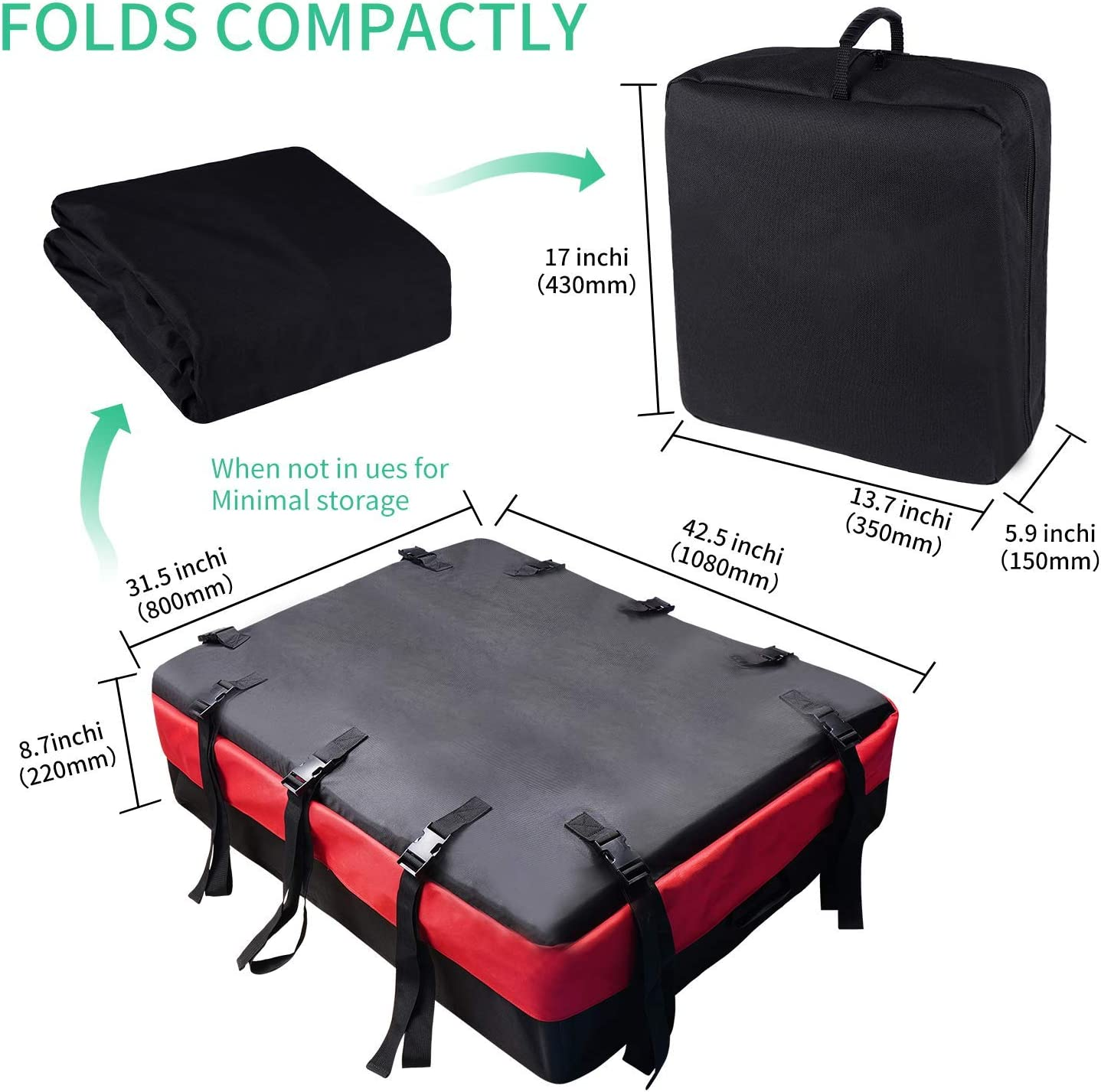 MHO+ALL Rooftop Cargo Carrier Bags Roof 8 cu ft Waterproof Luggage Car Top Carrier Heavy Duty Roof Bag with 10 Reinforced Straps Rainproof Zipper Fits All Cars /& Automobiles with or NO Roof Rack