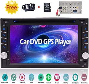 Double Din Car Video in Dash Bluetooth Car Stereo System GPS Navigation 2 DIN Car DVD CD Player Car Radio Tuner 6.2 inch Capacitive Touchscreen Automotive Head Unit + Remote + Free Rearview Camera