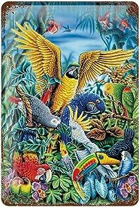 farmhouse Metal Plaque Poster Signs Bird Parrots Tin Sign Retro Vintage painting wall decor for farm outdoor livingroom Home Family back garden Bar Pub Shop Wall Art sign W8xH12 Inch