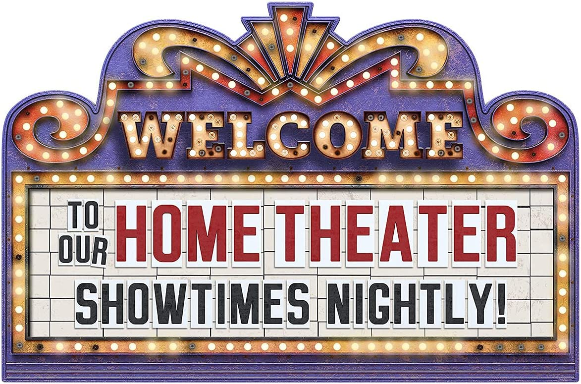 Welcome to Our Home Theater Marquee Showtimes Nightly Vinyl Decal (33.5