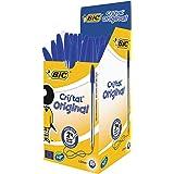BIC Cristal - Bolígrafo de punta redonda, 50 unidades, azul