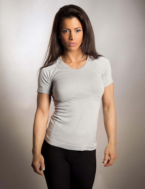 Sleepshirt AVIOR//Damen Schlaf-Shirt//Kurzarm Oberteil//Seamless ohne st/örende N/ähte//dreimal Weicher als Baumwolle//Thermoregulierende und Atmungsaktive Funktions-Nachtw/äsche