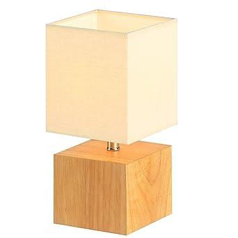Lampe De Table En Bois Naturel Hompen Lampe De Chevet Avec Abat