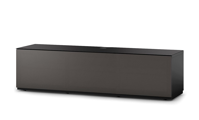 Sonorous STA 160T-BLK-OLV-BW hängende TV-Lowboard mit Sockel, schwarzer Korpus, obere Fläche, gehärtetem Schwarzglas und Klapptür mit olivfarbenem Akustikstoff