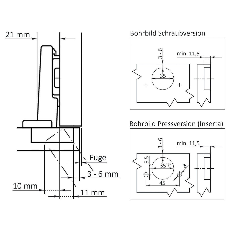 D/ämpfer zum Schrauben oder Einpressen 1 x SO-TECH/® CLIP Standardscharnier 107/° Eckanschlag Inserta Montageplatte