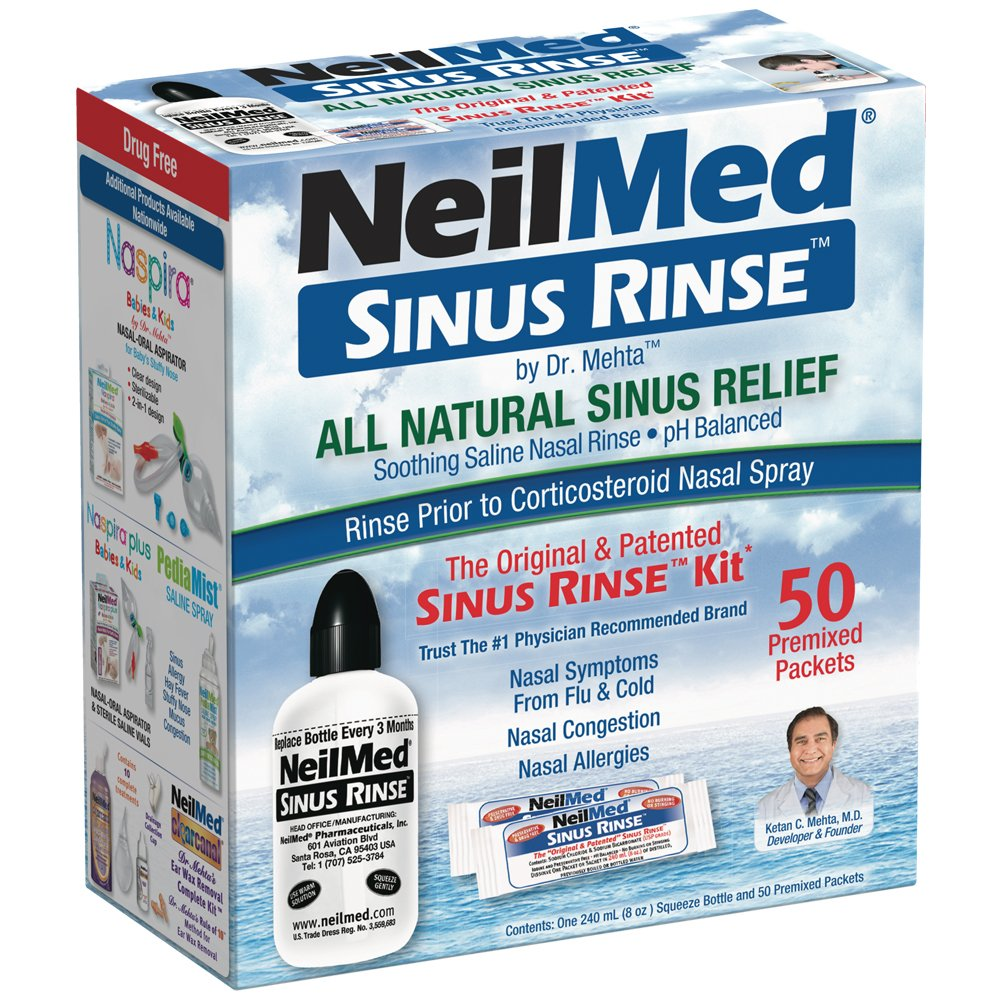 NeilMed Sinus Rinse - A Complete Sinus Nasal Rinse Kit, 50 count (Pack of 2) by NeilMed