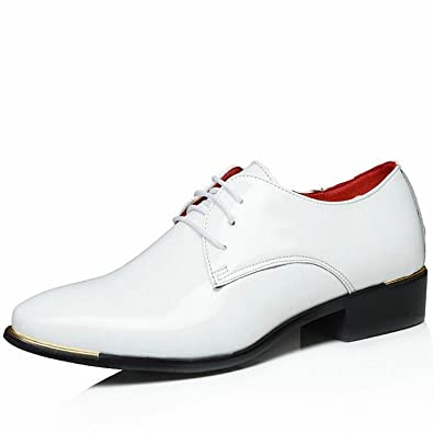 Baolustre New Arrive Mens Patent Leather Shoes Men Dress Shoes Lace up Pointed Toe Wedding Business