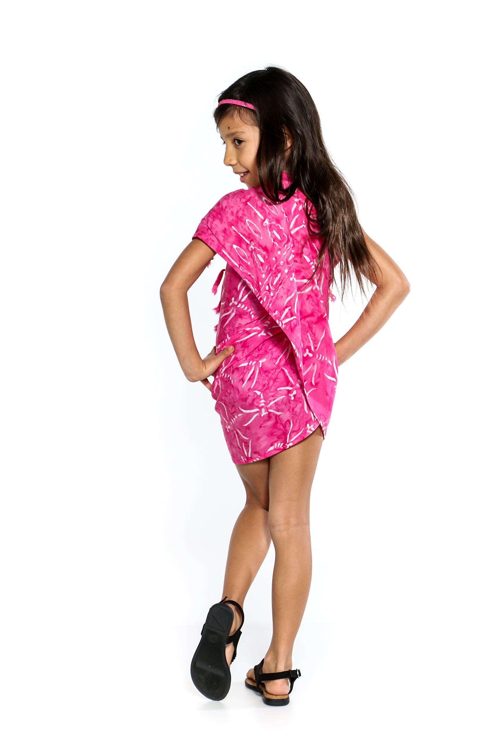 1 World Sarongs Girls Dragonfly Half Sarong in Pink