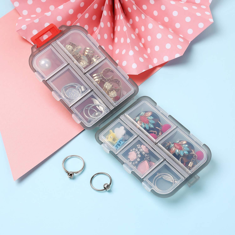Traslucido Grigio 10 scomparti Daimay Portatile Organizzatore di viaggi Scatola della pillola Pocket Dispenser Promemoria per prescrizione medica e farmaci Contenitore Viti per gioielli