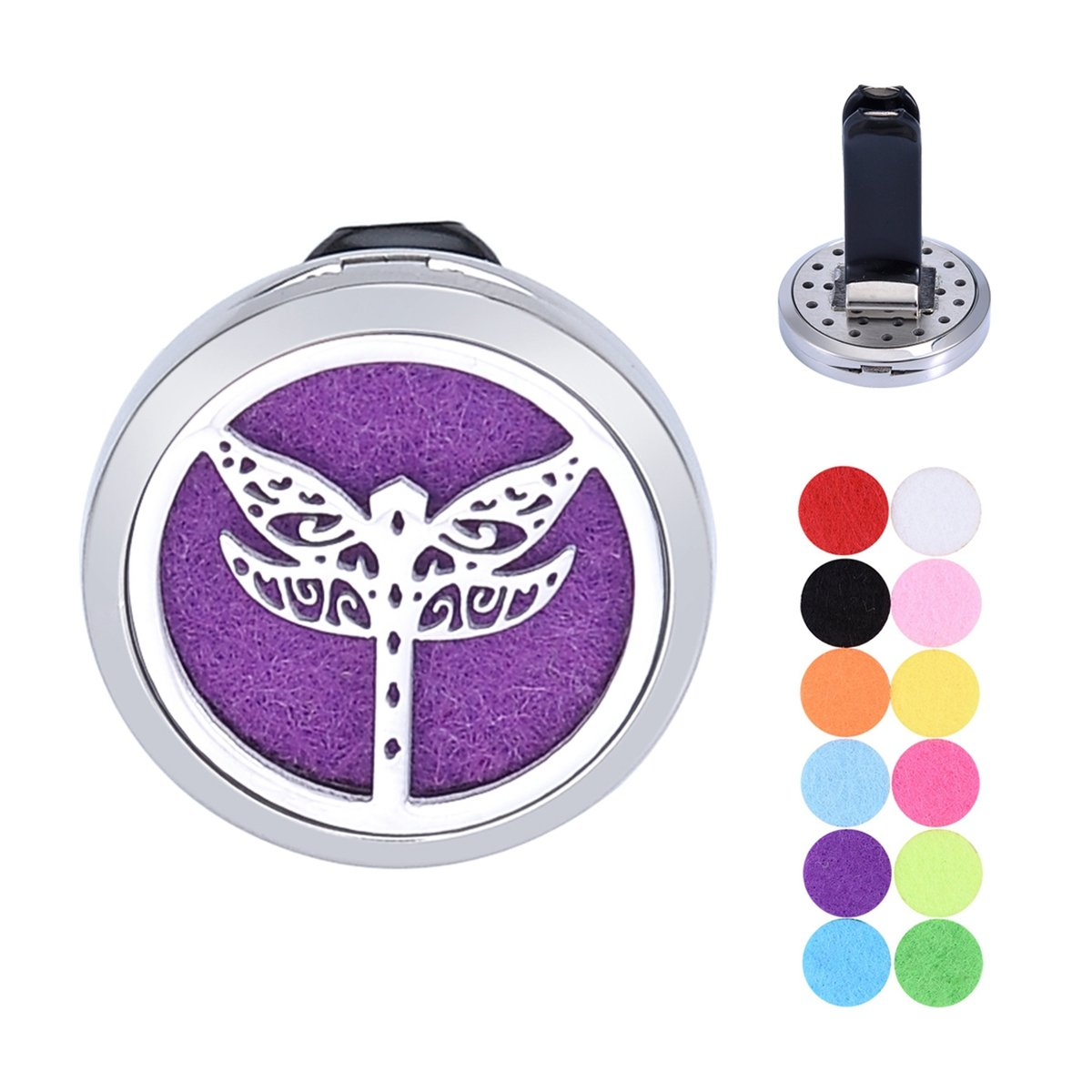 Car Aromatherapy Essential Oil Diffuser Stainless Steel Cat Vine Locket Air Freshener with Vent Clip 12 Felt Pads (Cat) Supreme glory SGto-B299405