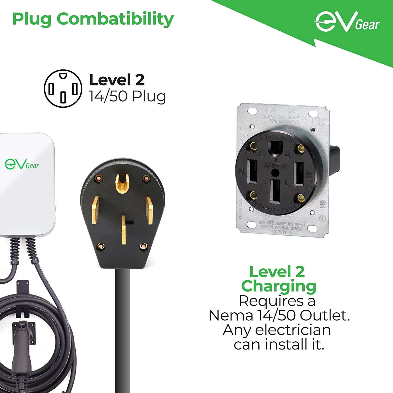 Level 2 40 AMP//240v EV Charger Compatible with All Electric Vehicles NEMA 14-50 Plug EV Gear Charging Station Electric Vehicle Charger Station