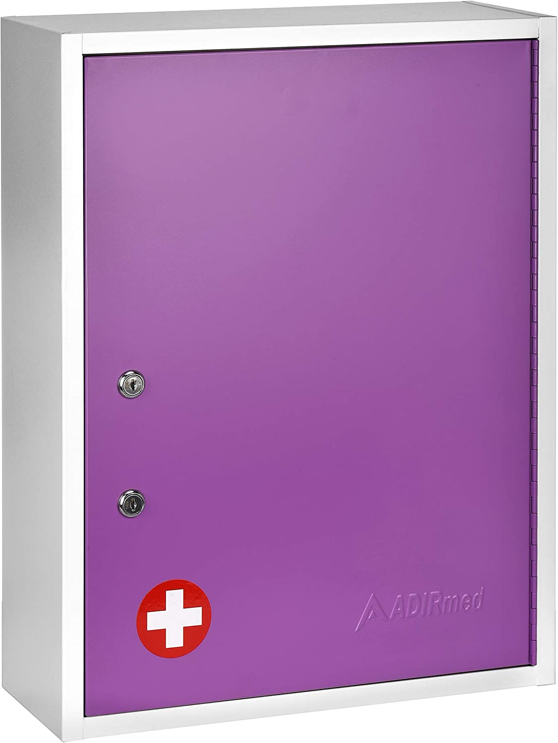 AdirMed Large Dual-Lock Medicine Cabinet – Wall Mounted & Secure Steel Medicine Pills & First Aid Kit & Emeergency Kit Box with Locks for Home Office & School Use (Purple)